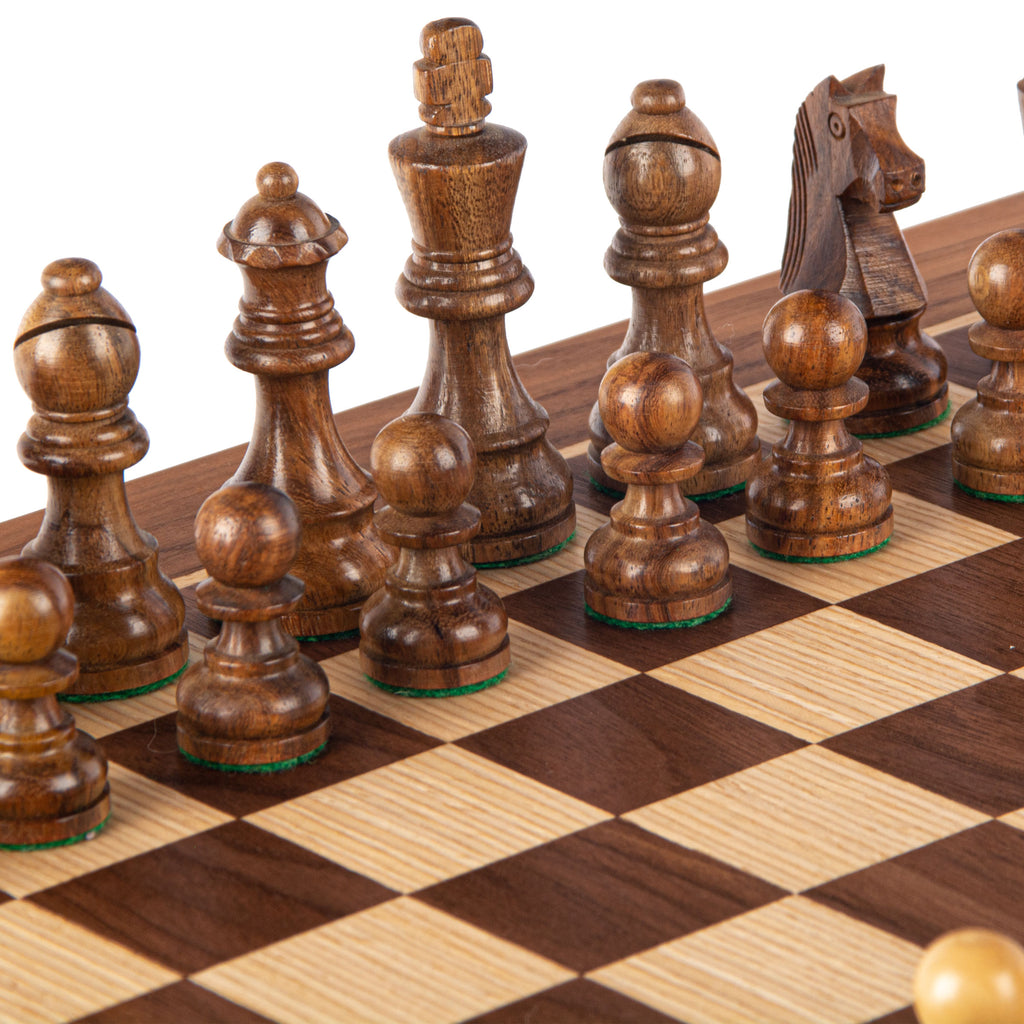 WALNUT Chess set 40x40cm (Medium) with Staunton Chessmen 8.5cm King