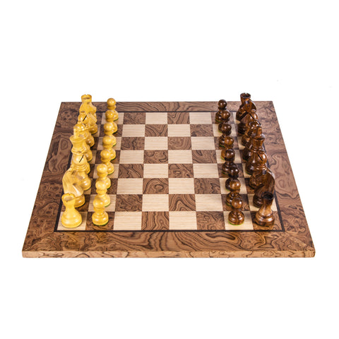 WALNUT BURL Chess set 50x50cm (Large) with Staunton Chessmen 9.5cm King