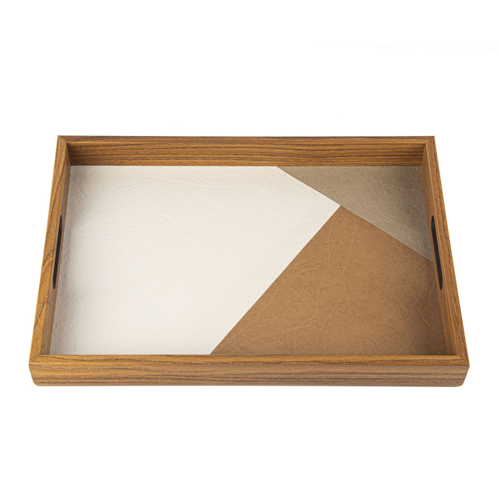 WOODEN TRAY with inlaid Leatherette in natural colours