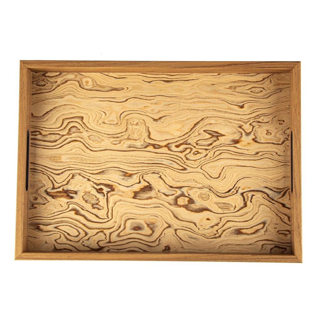 WOODEN TRAY with Italian Olive burl inside