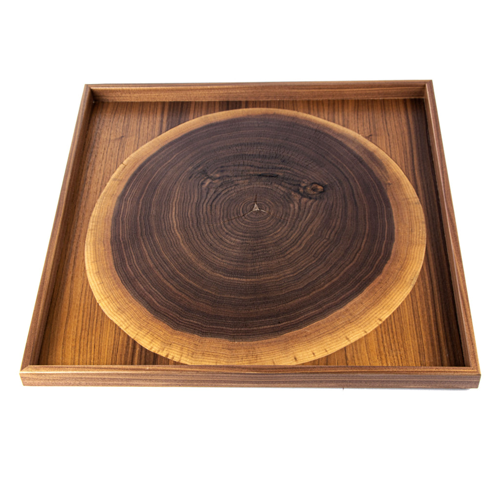 WOODEN TRAY with natural Walnut trunk