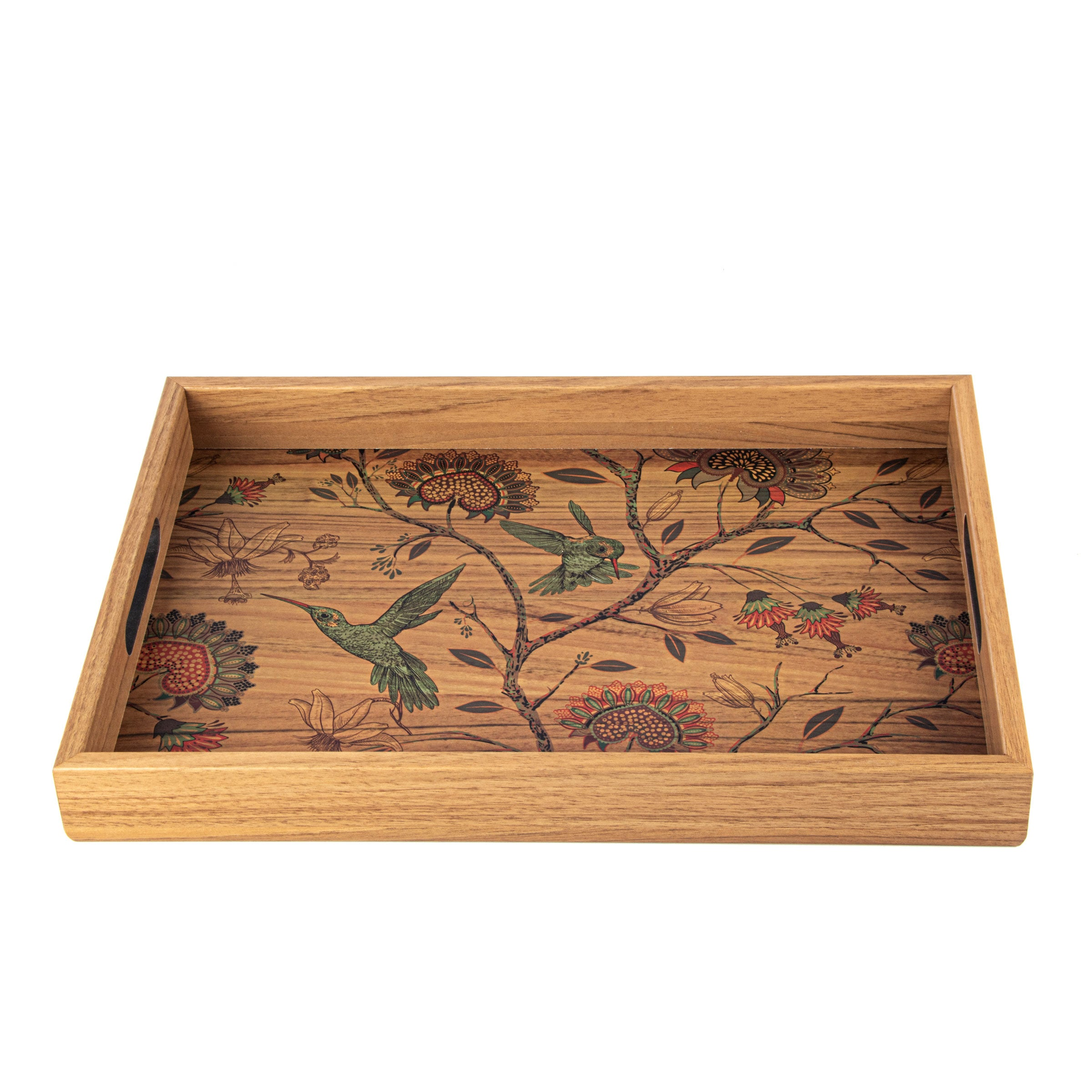 Wooden Tray With Printed Design Birds Manopoulos Chess Backgammon