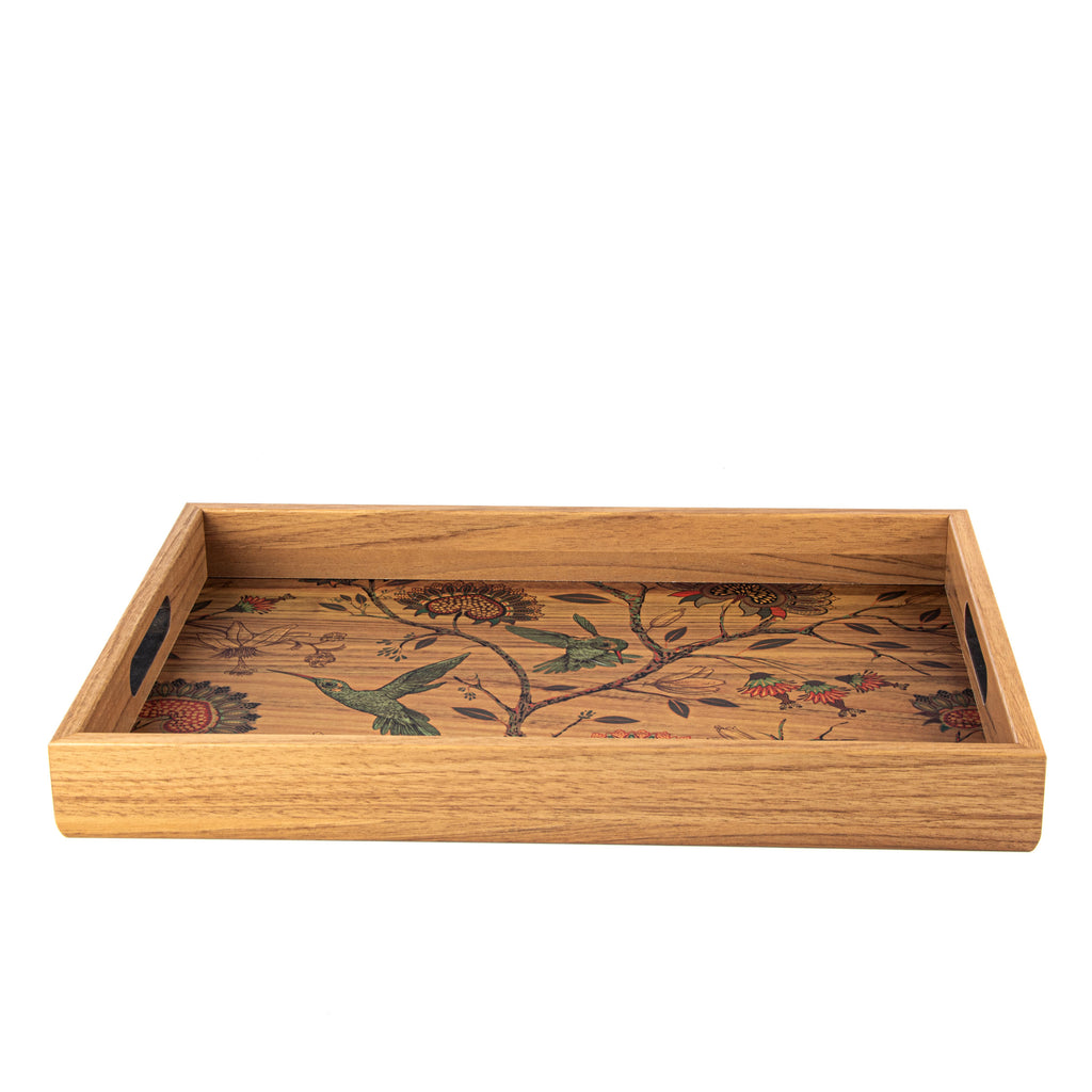 WOODEN TRAY with printed design - BIRDS