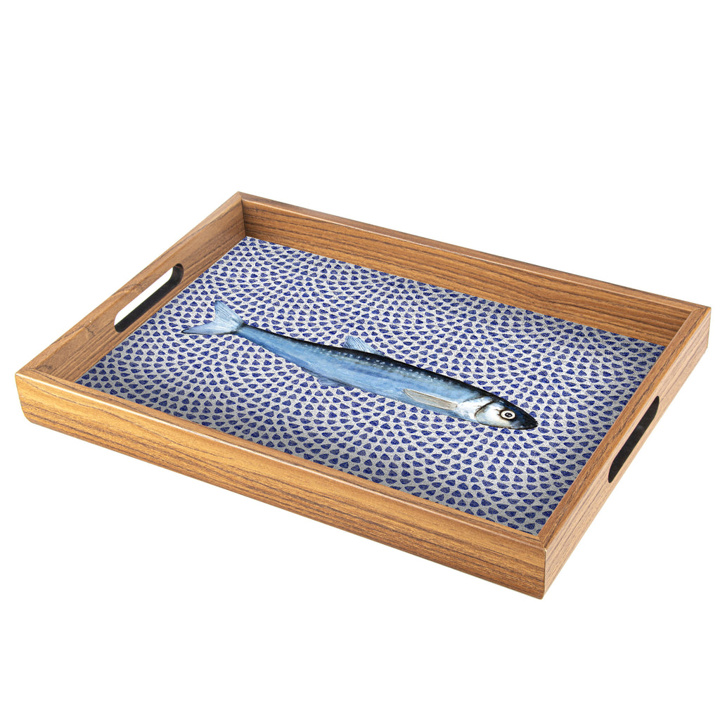 WOODEN TRAY with printed design - FISH