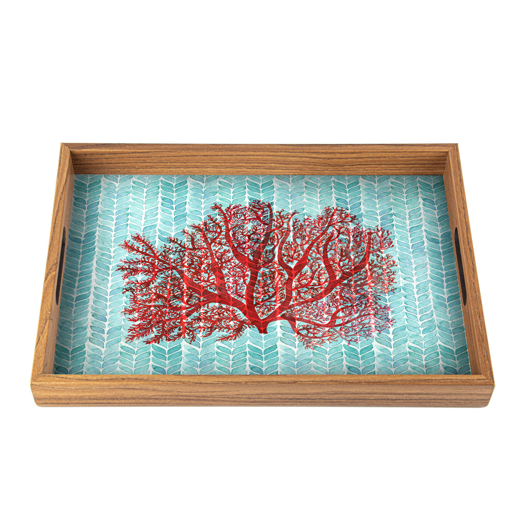 WOODEN TRAY with printed design - CORAL