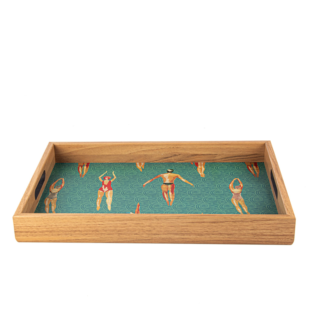 WOODEN TRAY with printed design - SWIMMERS