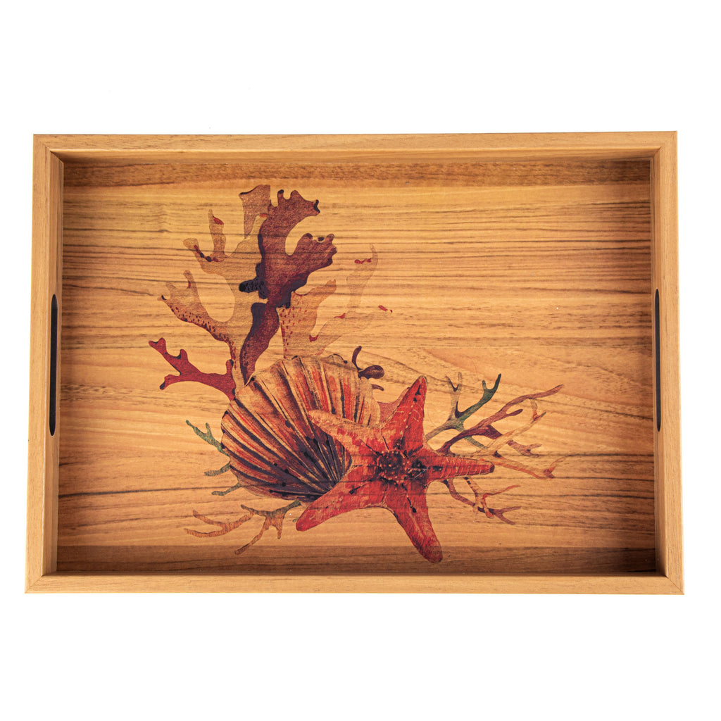 WOODEN TRAY with printed design - SEA SHELL