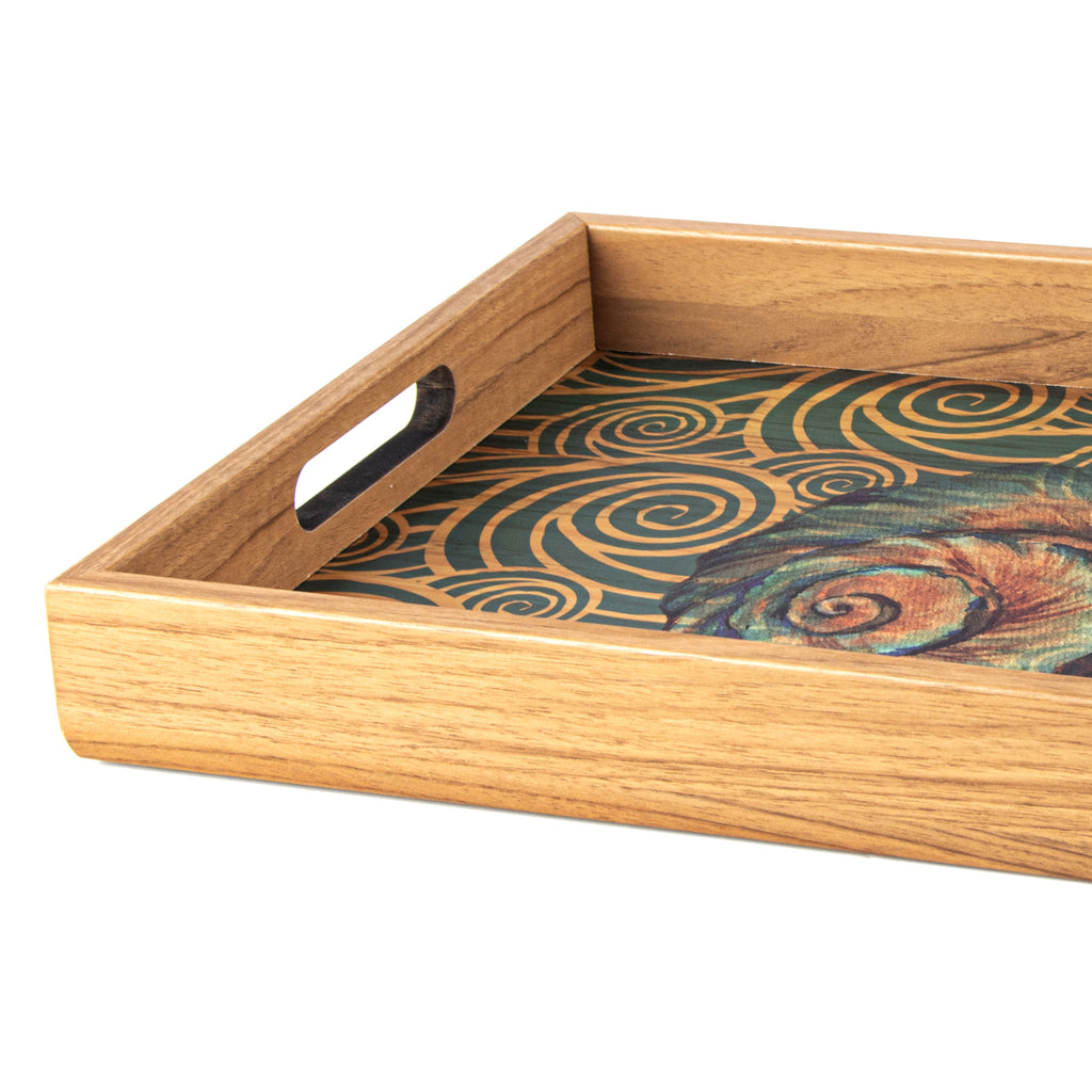 WOODEN TRAY with printed design - OCEAN