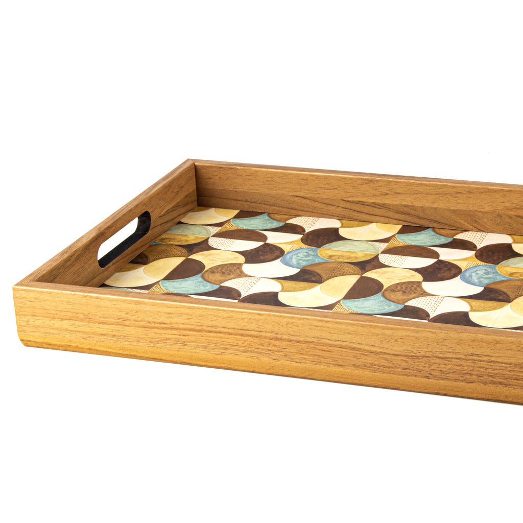 WOODEN TRAY with printed design - ART DECO TURQUOISE