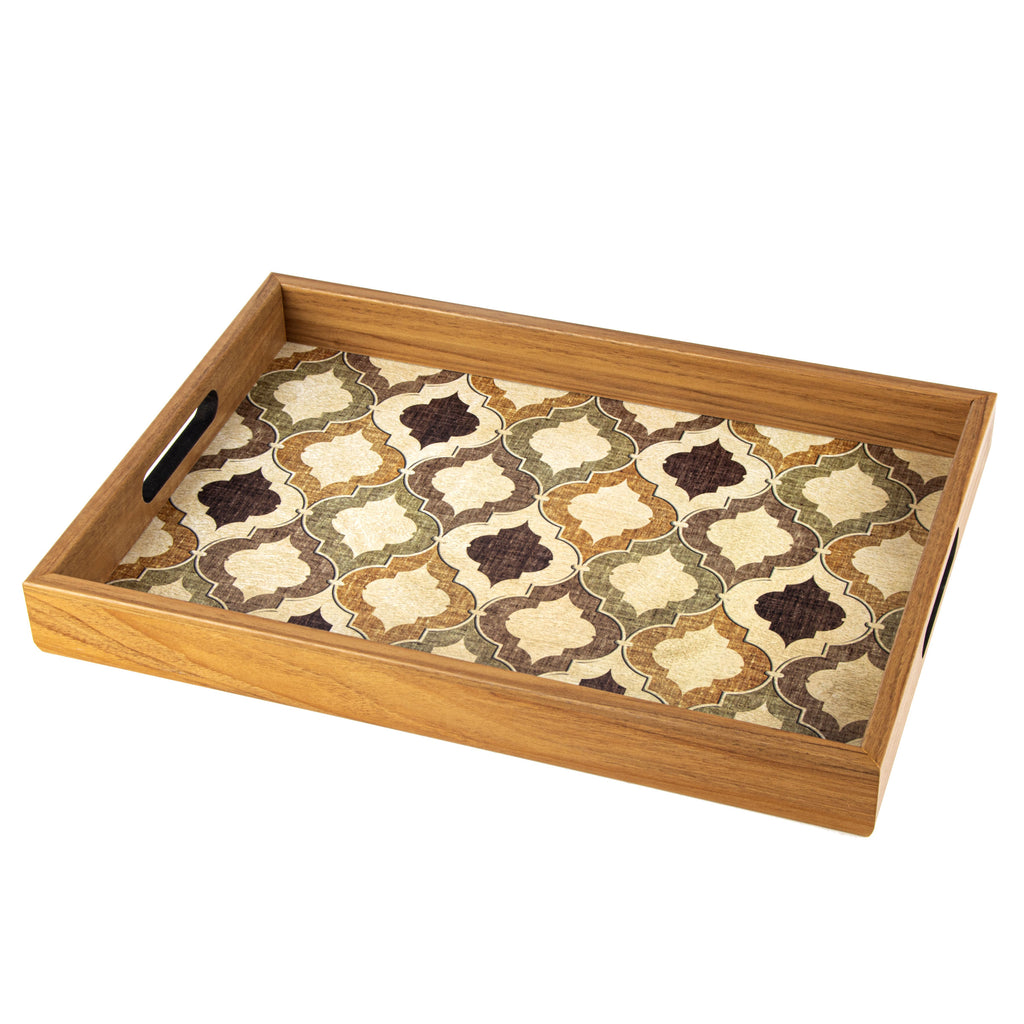 WOODEN TRAY with printed design - MOROCCAN STYLE