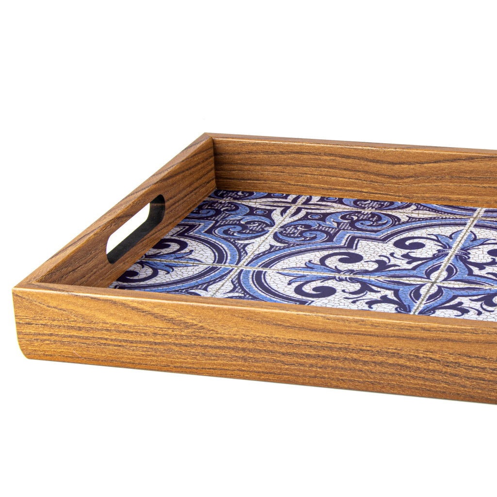 Wooden Tray With Printed Design Blue Mosaic Manopoulos Chess Backgammon