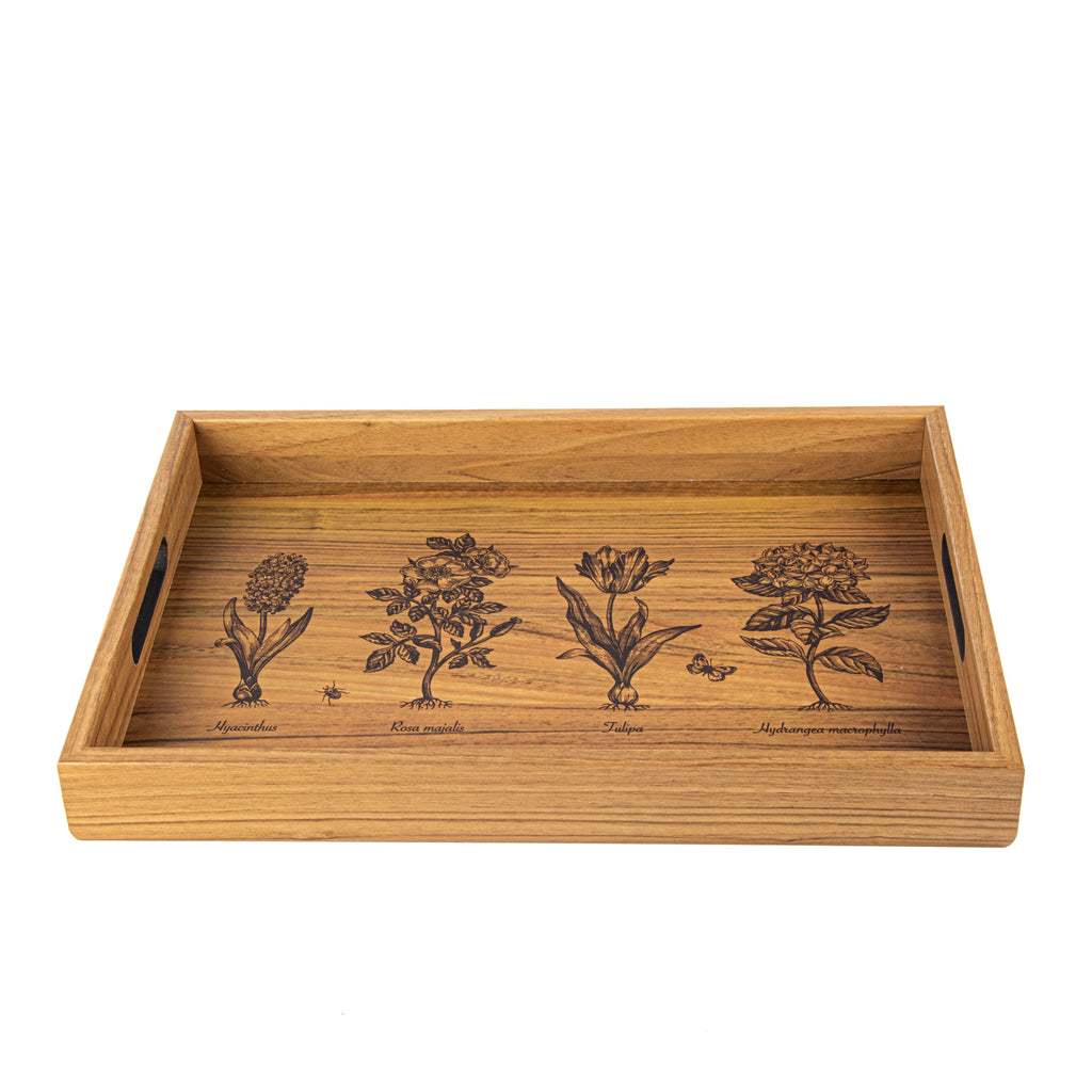 WOODEN TRAY with printed design - GARDENING