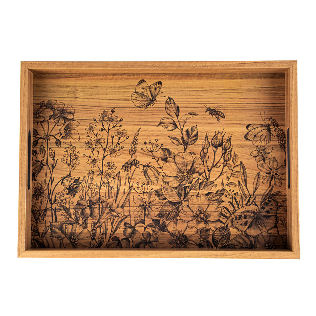 WOODEN TRAY with printed design - BUTTERFLIES