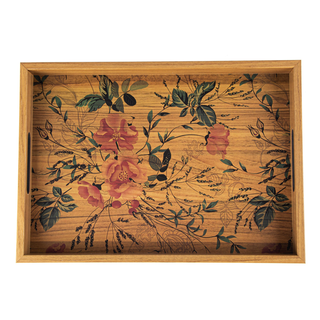 WOODEN TRAY with printed design - FLORAL