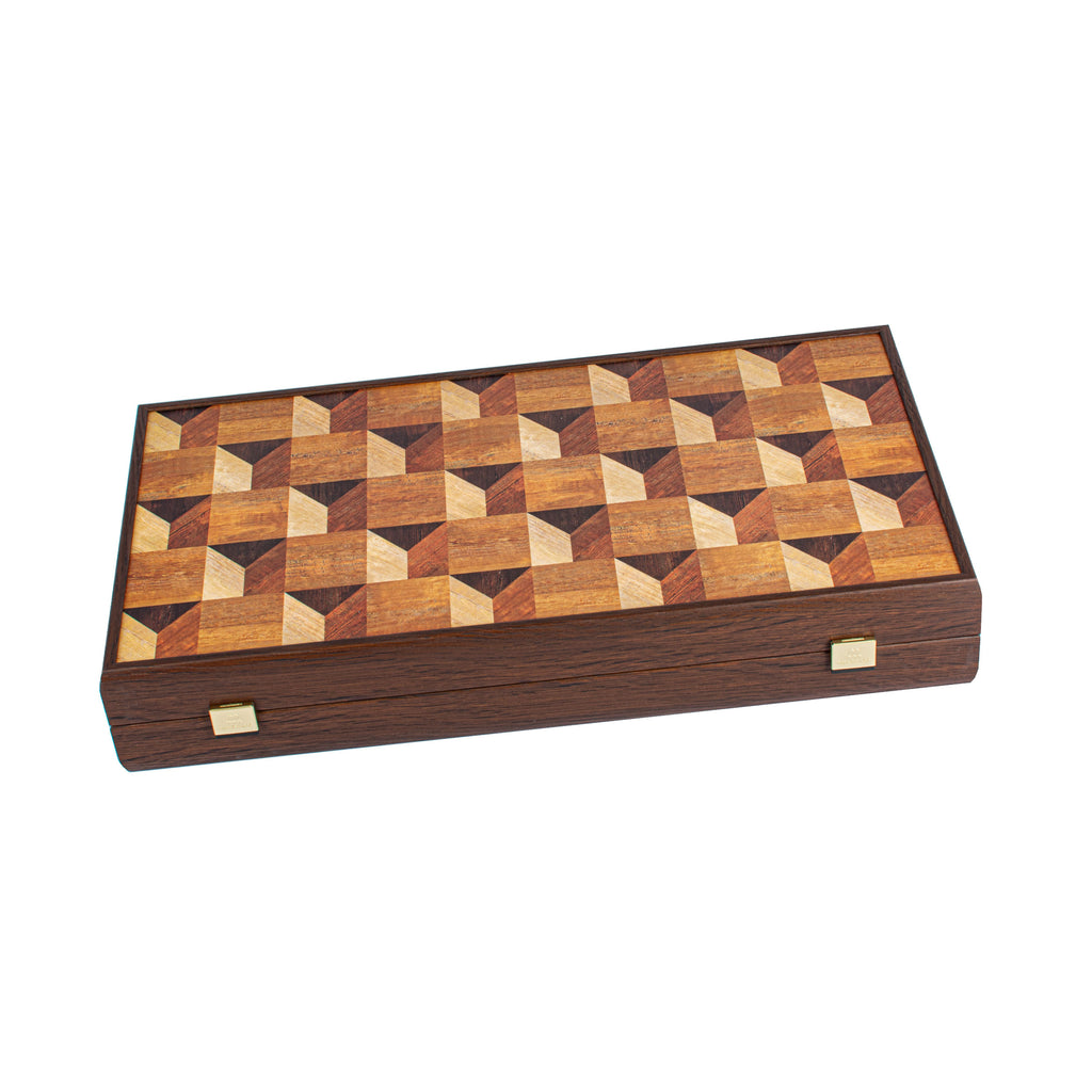 Handcrafted Creative Backgammon - Geometrical Wood Motif
