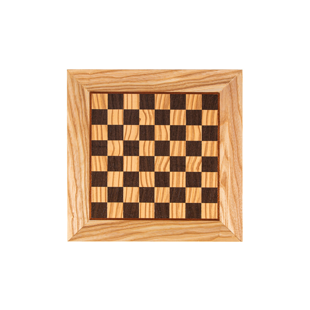 OLIVE WOOD & WENGE INLAID handcrafted chessboard 34x34cm (Small)