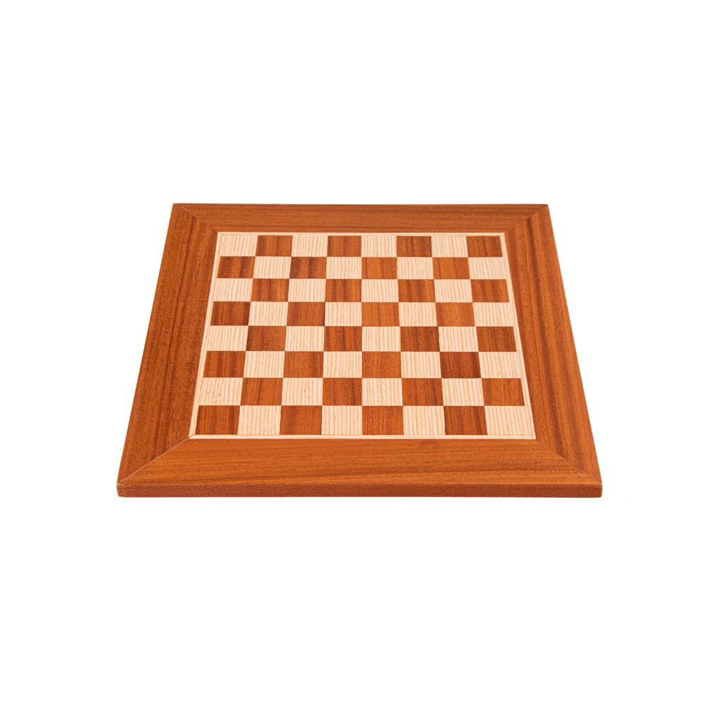 MAHOGANY WOOD & OAK INLAID handcrafted chessboard 34x34cm (Small)