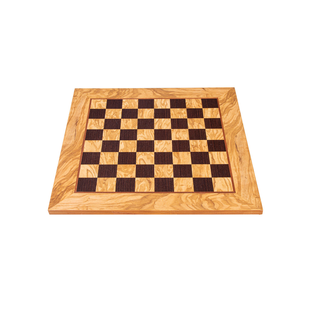 OLIVE WOOD & WENGE INLAID handcrafted chessboard 40x40cm (Medium)