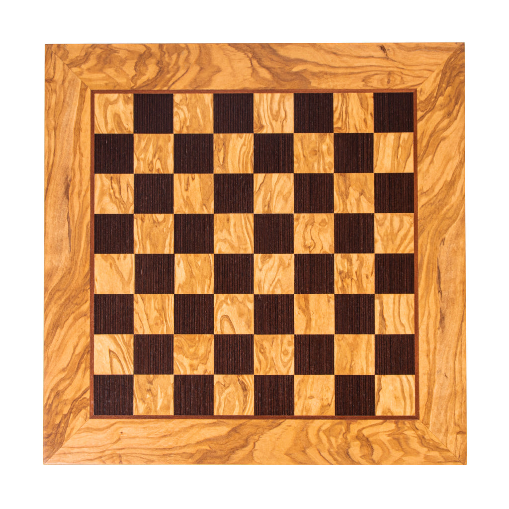 OLIVE WOOD & WENGE INLAID handcrafted chessboard 50x50cm (Large)