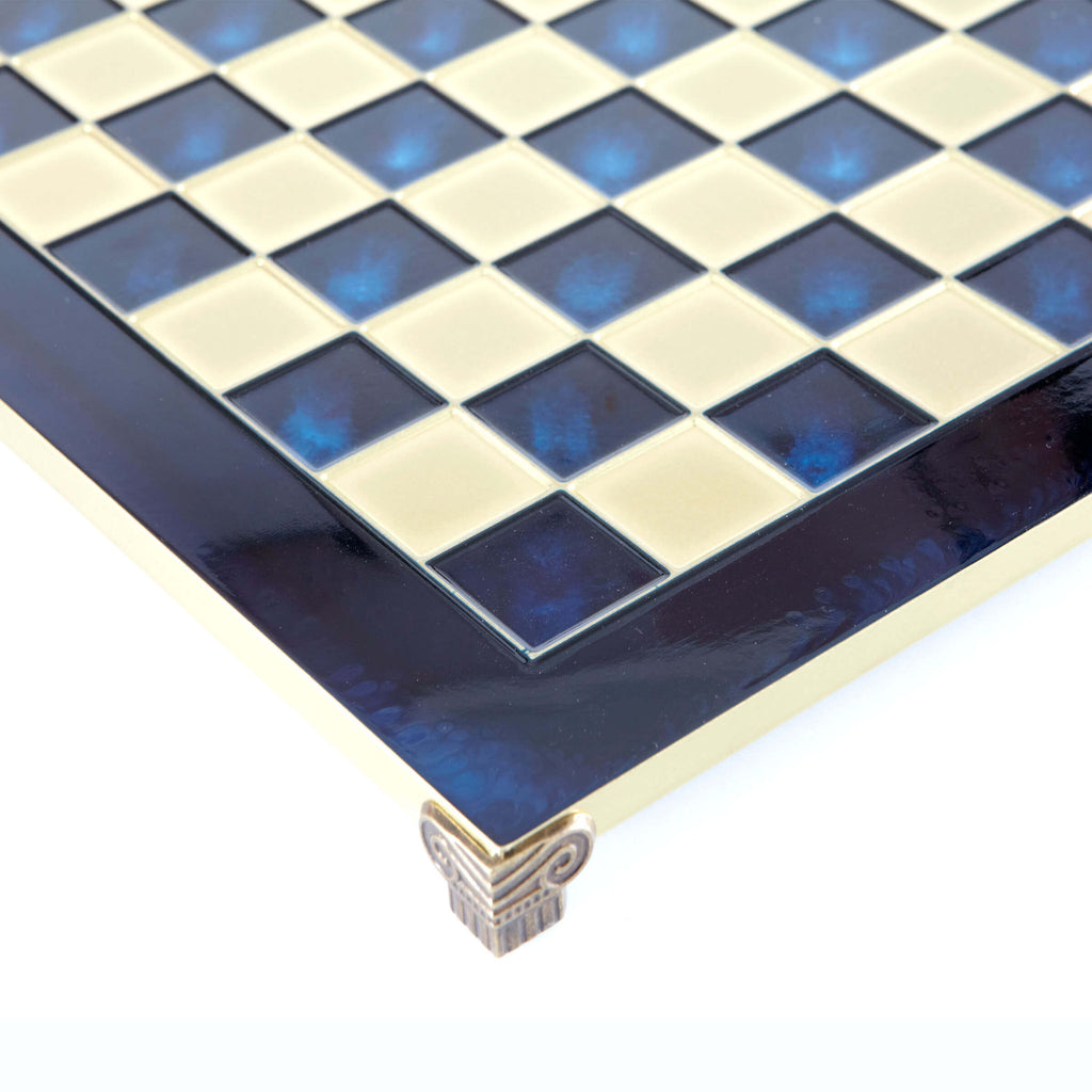 Handcrafted Metallic Chess Board - Classic Brass (Large) blue