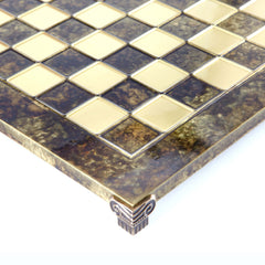 Handcrafted Metallic Chess Board - Classic Brass (Extra-Large) brown
