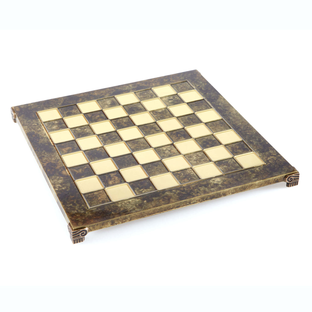 Handcrafted Metallic Chess Board - Classic Brass (Medium) brown