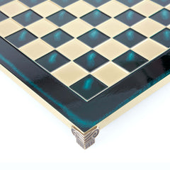 Handcrafted Metallic Chess Board - Classic Brass (Medium) green
