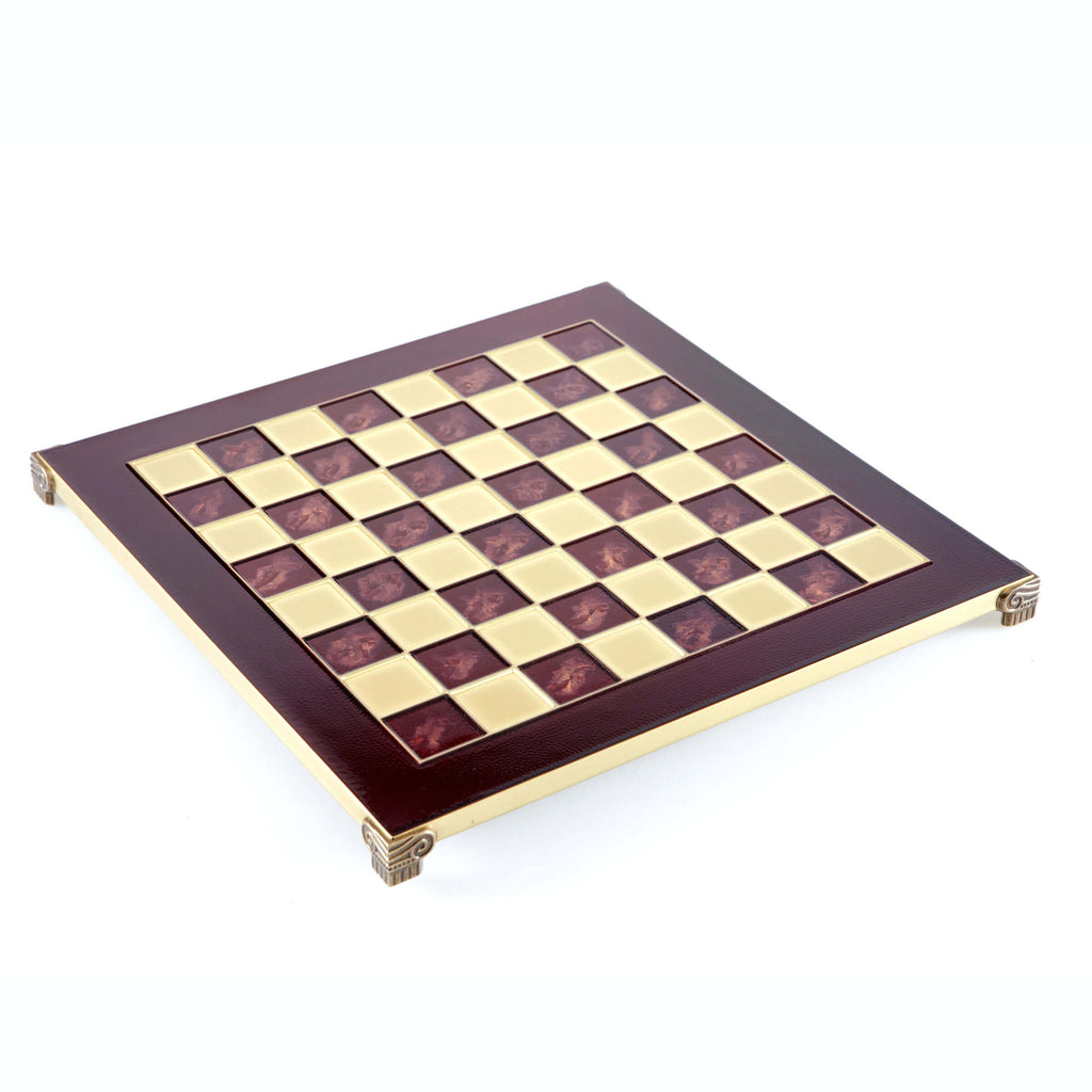 Handcrafted Metallic Chess Board - Classic Brass (Large) red