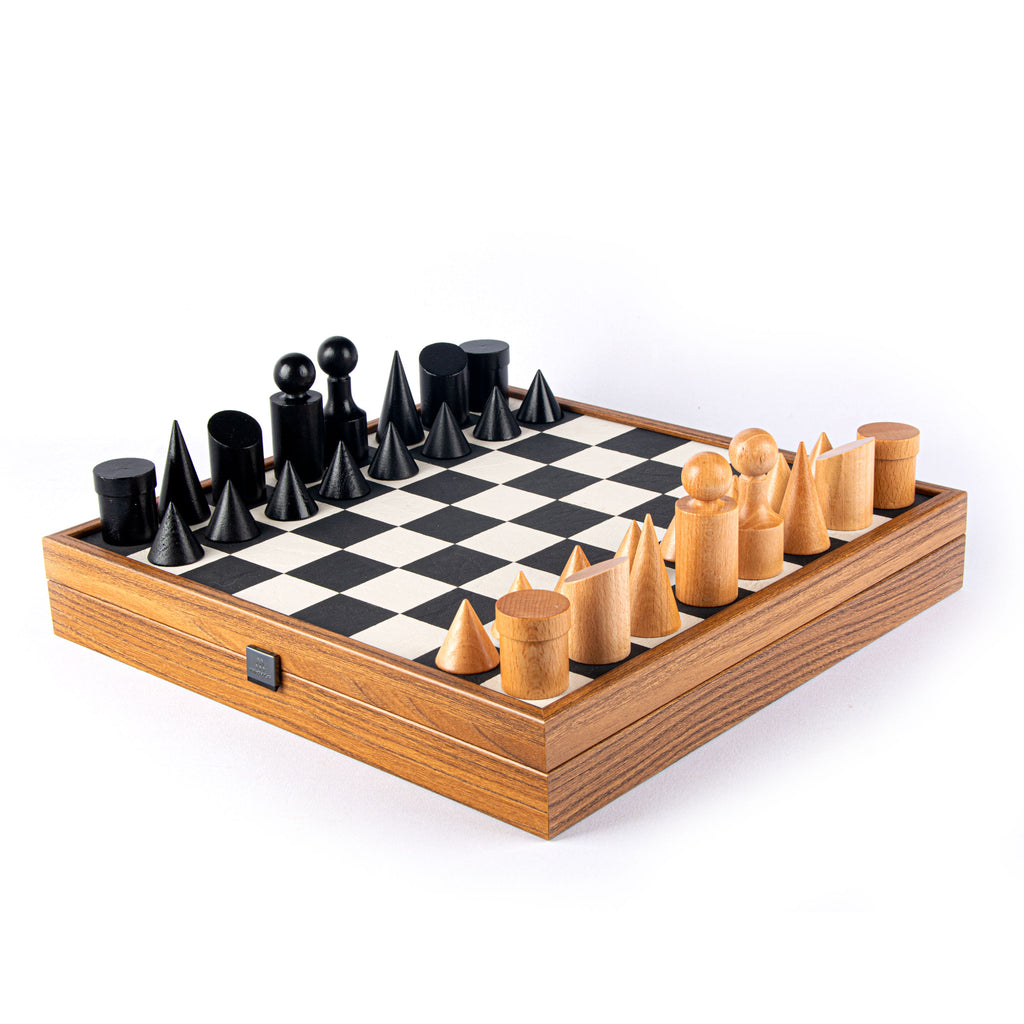 BAUHAUS STYLE Black & White Chess set 40x40cm (Medium) with chessmen 8.5cm King