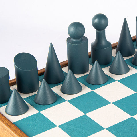 BAUHAUS STYLE Turquoise Chess set 40x40cm (Medium) with chessmen 8.5cm King