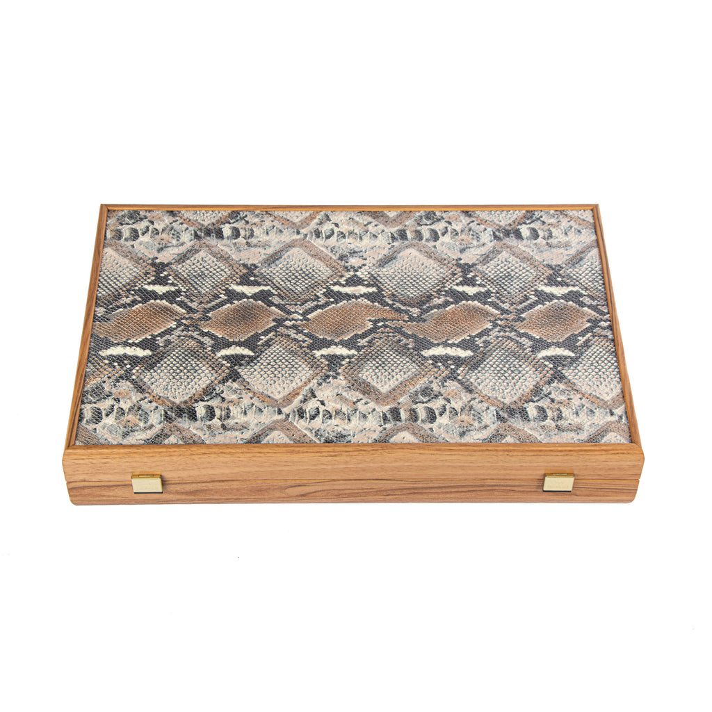SNAKE TOTE IN GREY AND BEIGE COLOUR LEATHER Backgammon
