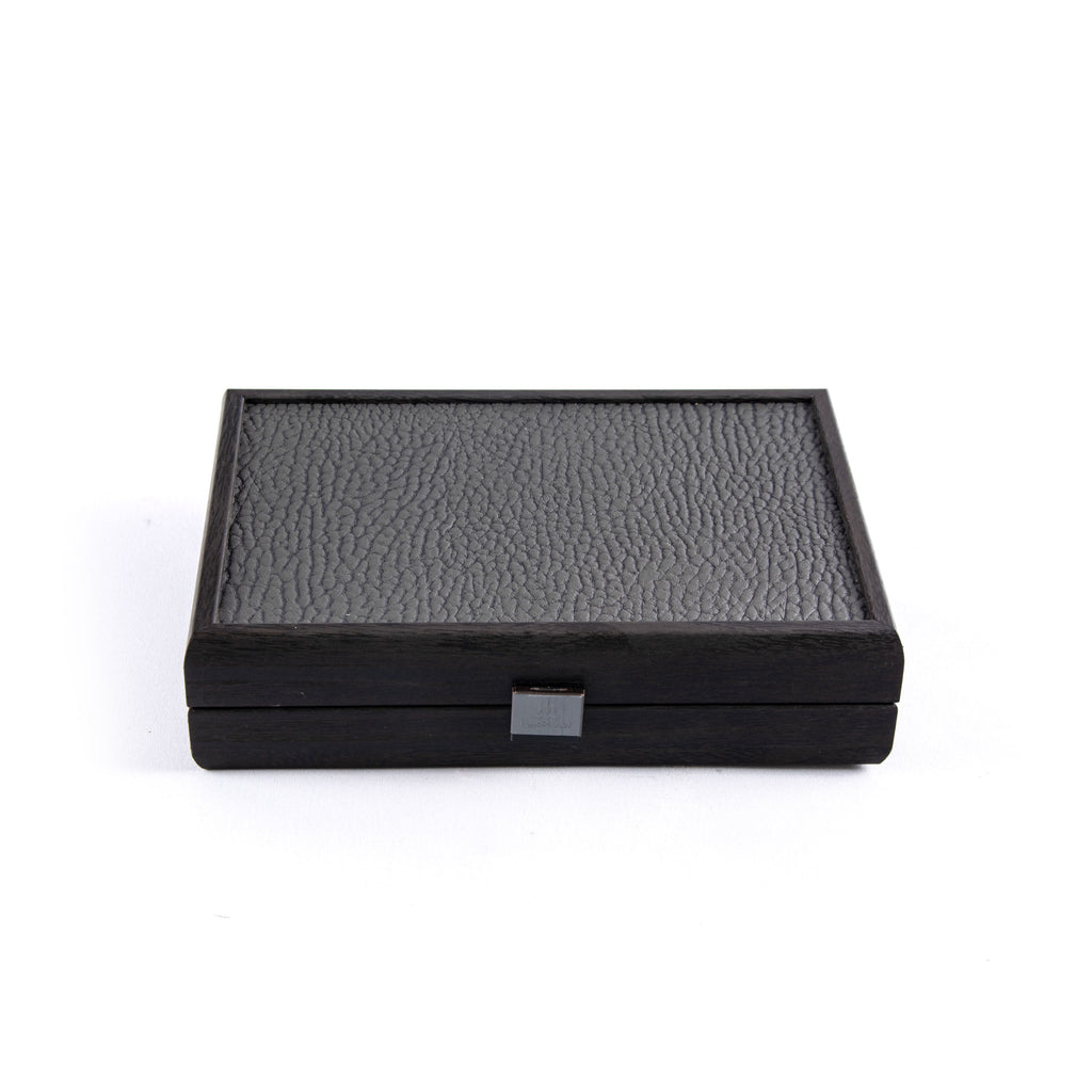 PLASTIC COATED PLAYING CARDS in Dark Grey colour Leatherette wooden case