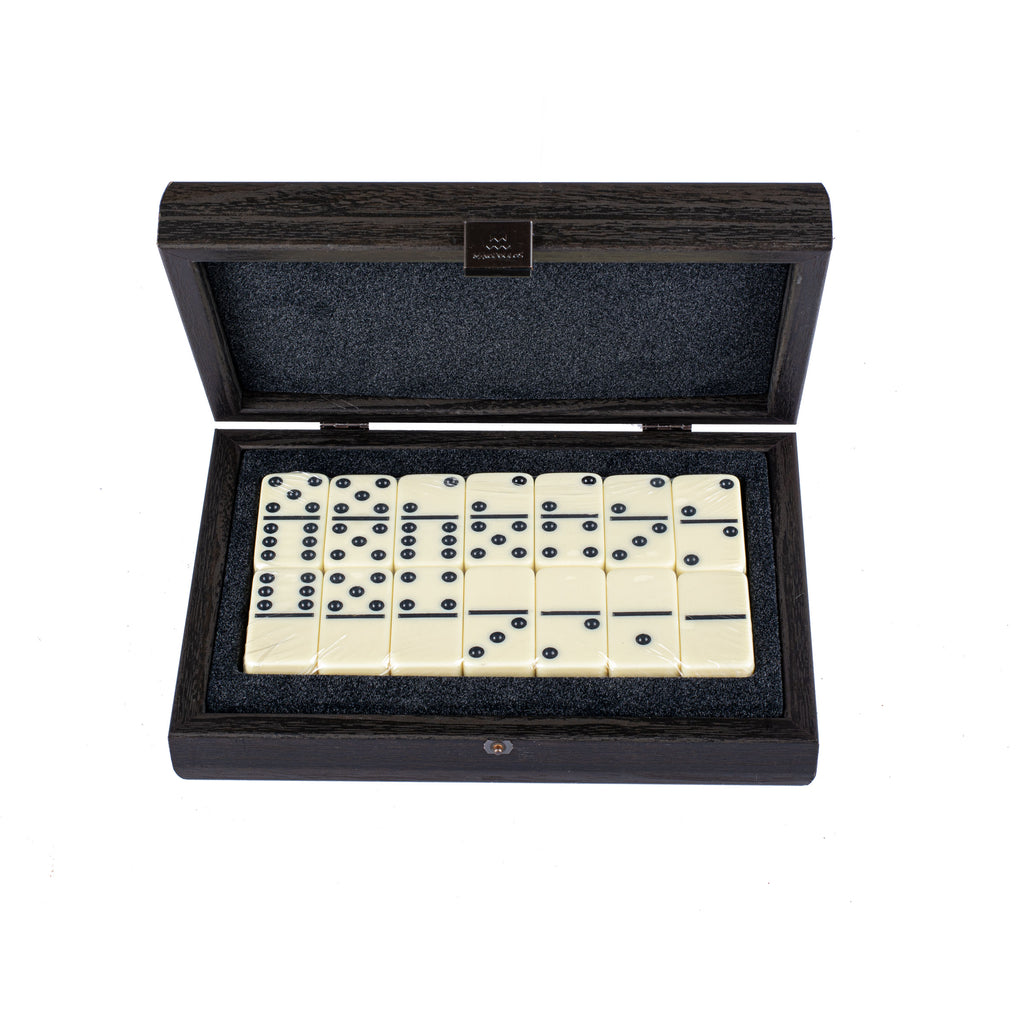 DOMINO SET in Dark Grey colour Leatherette wooden case