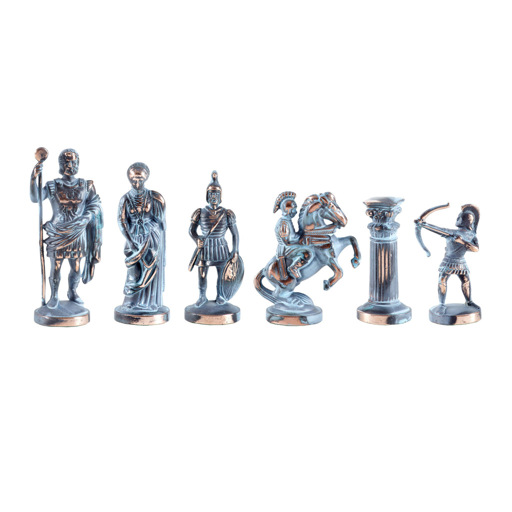Handcrafted Metallic Chess - Chessmen - Archers (Large) - Blue/Bronze