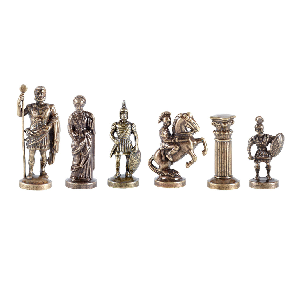 Chessmen  Greek Roman Period (Large) - Gold/Bronze - Handcrafted Metallic Chess