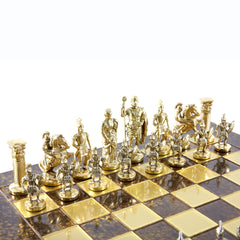 GREEK ROMAN PERIOD CHESS SET with gold/silver chessmen and bronze chessboard brown