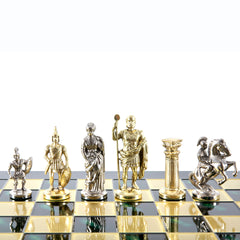 GREEK ROMAN PERIOD CHESS SET with gold/silver chessmen and bronze chessboard green