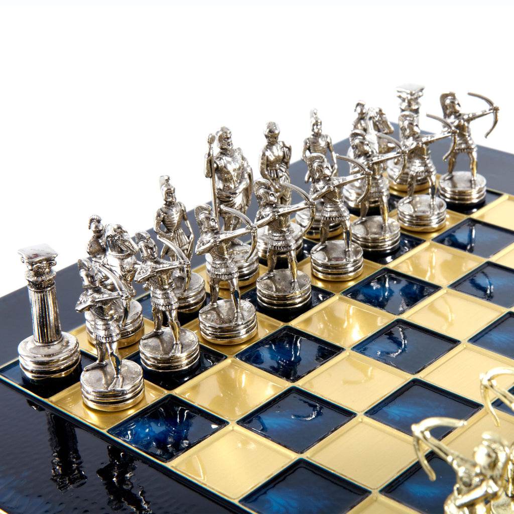 Handcrafted Metallic Chess - Chess Set - Archers (Small) - Gold/Silver blue