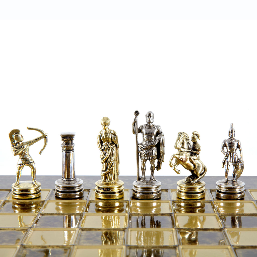 Handcrafted Metallic Chess - Chess Set - Archers (Small) - Gold/Silver brown