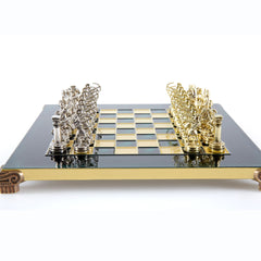 Handcrafted Metallic Chess - Chess Set - Archers (Small) - Gold/Silver green