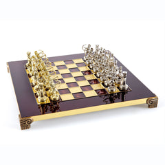 Handcrafted Metallic Chess - Chess Set - Archers (Small) - Gold/Silver red