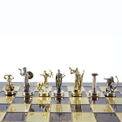 GIANTS' BATTLE CHESS SET with gold/silver chessmen and bronze chessboard brown