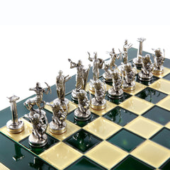 GIANTS' BATTLE CHESS SET with gold/silver chessmen and bronze chessboard green