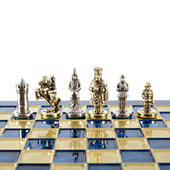 Handcrafted Metallic Chess - Chess Set - Byzantine Empire (Extra Small) - Gold/Silver blue