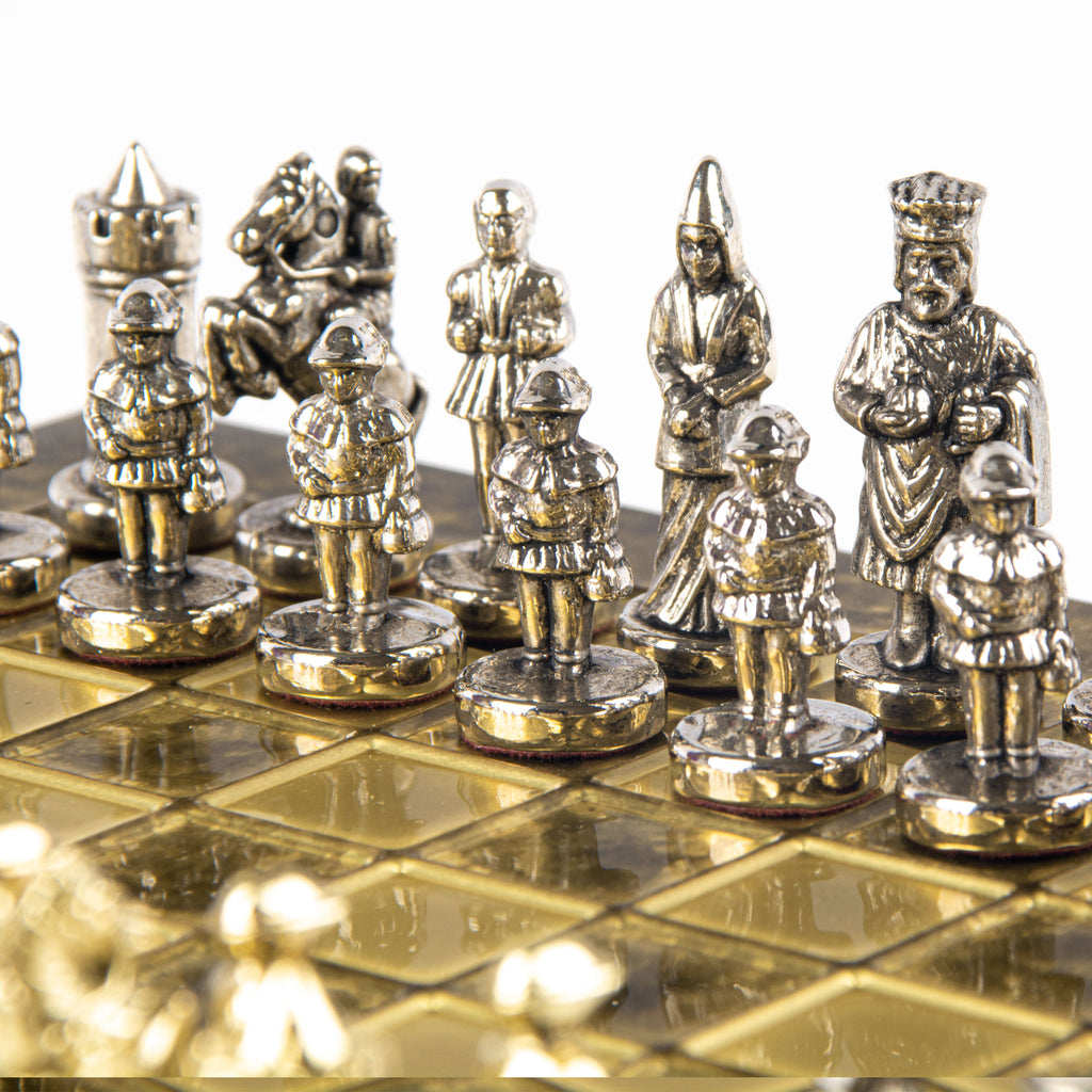 Handcrafted Metallic Chess - Chess Set - Byzantine Empire (Extra Small) - Gold/Silver brown