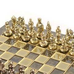 BYZANTINE EMPIRE CHESS SET with gold/brown chessmen and bronze chessboard brown