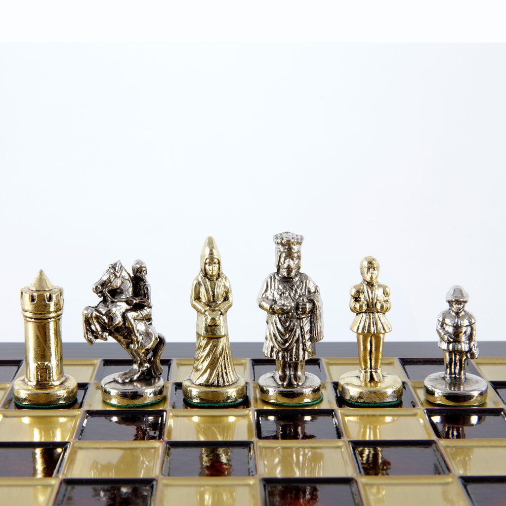 Handcrafted Metallic Chess - Chess Set - Byzantine Empire (Extra Small) - Gold/Silver red