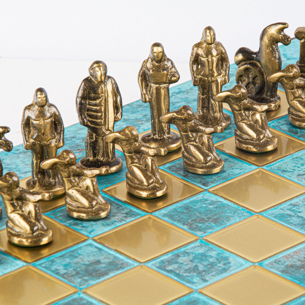 ARCHAIC PERIOD CHESS SET - Solid Brass with blue/brown chessmen and bronze chessboard 44 x 44cm (Large)