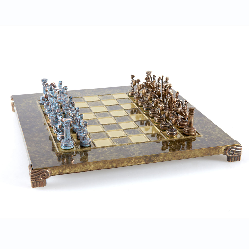Handcrafted Metallic Chess - Chess Set - Greek Roman Period (Small) - Blue/Bronze brown