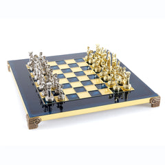 Handcrafted Metallic Chess - Chess Set - Greek Roman Period (Small) - Gold/Silver blue